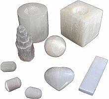 Selenit Set weiß - 7 Teile - Kerzenhalter, Herz,