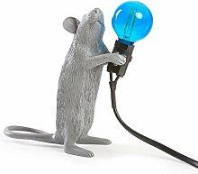 Seletti Mouse Lamp Stehend Mausförmige Lampe Grau