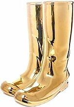 SELETTI Vorratsdose Rainboots Schirmständer, Porzellan, Gold, 20x 27,5x 36cm