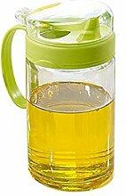 Self-Owned Brand Glas-Öl-Flasche, dichtes Öl kann, Gewürz-Flasche Küche liefert, Sojasauce Flasche Essig Flaschen, Essig Topf zum Kochen, Grill, Grill und Salate,Ölflasche (Grün, 550ml)