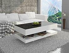 Sellon24 Couchtisch Hochglanz Weiß Schwarz Tisch