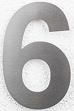 SEM Hausnummer 6 Edelstahl fein gebürstet 16cm