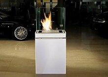 Semi Flame 1,7 L weiss gebürsteter Edelstahl Ethanolkamin von Radius Design - 553 b