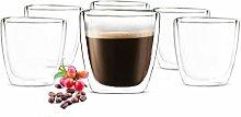 Sendez 6x90 ml Doppelwandige Espresso Gläser