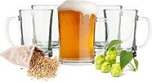 Sendez Bierglas 6 Biergläser mit Henkel 500ml