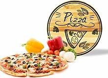 Sendez Pizzateller mit Pizza-Motiv aus Holz ø30cm