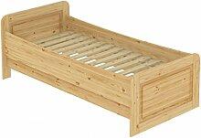 Seniorenbett extra hoch 100x200 Einzelbett Holzbett Massivholz Kiefer Bett mit Rollrost 60.42-10