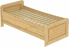 Seniorenbett extra hoch 120x200 Einzelbett Holzbett Massivholz Kiefer Bett mit Rollrost 60.42-12
