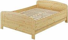 Seniorenbett extra hoch 180x200 Doppelbett Holzbett Massivholz Kiefer Bett mit Rollrost 60.44-18