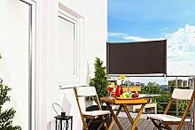 Senkrechtmarkise Balkon Markise 'UP' Balkonmarkise UV-Schutz Sichtschutz Sonnenschutz Creme Anthrazit 80 x 300 cm