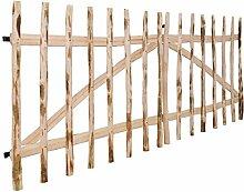 SENLUOWX doppelt Zaun Tor Barriere Hazel Holz Garten Tor für Sicherheit Schutz 300x 120cm