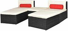 SENLUOWX Rattan-Sofa-Set Garten Modulare 14Teile