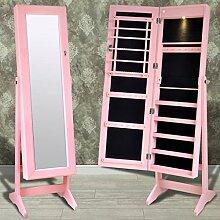 SENLUOWX Standspiegel Schmuckkasten pink-mit Licht