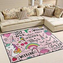 SENNSEE Einhorn Flamingos rosa Teppich Indoor