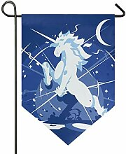 SENNSEE Hausflagge Cartoon Einhorn blau Garten