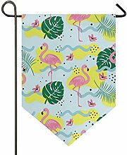 SENNSEE Hausflagge Flamingos Muster Pflanze Garten