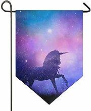 SENNSEE Hausflagge Galaxie Einhorn Garten Flagge