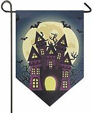 SENNSEE Hausflagge Halloween Schloss Fledermäuse