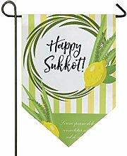 SENNSEE Hausflagge Happy Sukkot Citron Garten