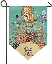SENNSEE Hausflagge Meerjungfrau, Meerjungfrau,