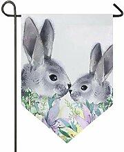 SENNSEE Hausflagge Ostern Tier Kaninchen Garten