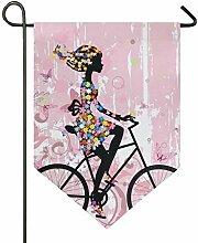SENNSEE Hausflagge rosa Fahrrad Mädchen Garten