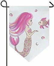 SENNSEE Hausflagge Rosa Meerjungfrauenfisch Garten