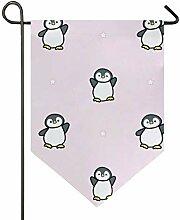 SENNSEE Hausflagge rosa niedlicher Pinguin Garten