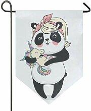 SENNSEE Hausflagge süßer Panda mit Einhorn,