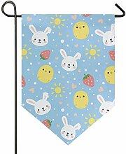 SENNSEE Hausflagge süßes Kaninchen Huhn Garten