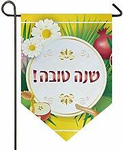 SENNSEE Hausflagge Sukkot Granatapfel Blätter