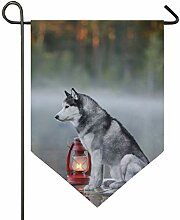 SENNSEE Hausflagge Tier Husky Hund Garten Flagge