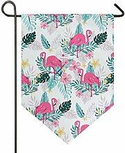 SENNSEE Hausflagge Tropische rosa Flamingos