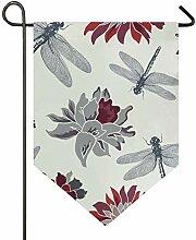 SENNSEE Hausflagge Vintage Libelle Blumenmuster