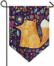 SENNSEE Hausflagge Waldtier Fuchs Blumen Garten