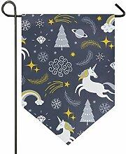 SENNSEE Hausflagge Weihnachten Einhorn Winter