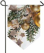 SENNSEE Hausflagge Weihnachtszweige Kugeln Stern