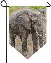 SENNSEE Hausflagge Wildtier-Elefanten-Garten