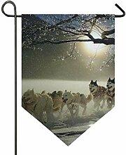 SENNSEE Hausflagge Winterhunde Husky Garten Flagge