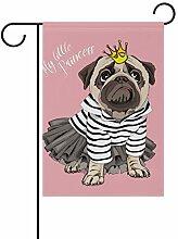 SENNSEE Hundeflagge Prinzessin Mops rosa Haus