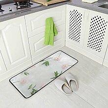 SENNSEE Küchenteppich mit rosa Blütenblättern,