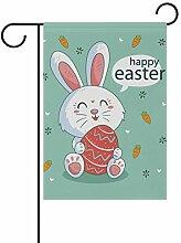 SENNSEE Ostern-Flagge mit niedlichem Hasen-Ei,