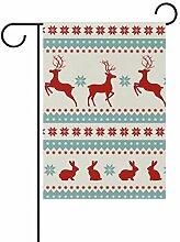 SENNSEE Weihnachtsflagge Rentier Hase Haus Garten