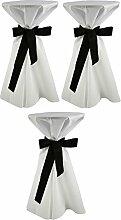 Sensalux, 3 Stehtischüberwürfe / die preisgünstige Alternative zur Husse, (nicht genäht) abwischbar - (Farbe nach Wahl), Tischdurchmesser 60-70 cm, Überwurf weiß Schleifenband schwarz