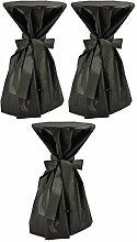 Sensalux, 3 Stehtischüberwürfe (nicht genäht) abwischbar - (Farbe nach Wahl), Überwurf schwarz Schleifenband schwarz, Tischdurchmesser 60-70 cm, die preisgünstige Alternative zur Husse