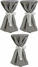 Sensalux, 3 Stehtischüberwürfe (nicht genäht) abwischbar - (Farbe nach Wahl), Überwurf grau Schleifenband weiß, Tischdurchmesser 60-70 cm, die preisgünstige Alternative zur Husse