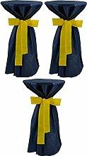 Sensalux, 3 Stehtischüberwürfe (nicht genäht) abwischbar - (Farbe nach Wahl), Überwurf blau Schleifenband gelb, Tischdurchmesser 60-70 cm, die preisgünstige Alternative zur Husse