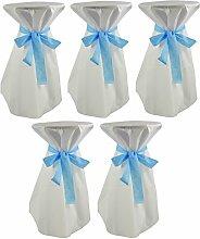 Sensalux, 5 Stehtischüberwürfe / die preisgünstige Alternative zur Husse, (nicht genäht) abwischbar - (Farbe nach Wahl), Tischdurchmesser 60-70 cm, Überwurf weiß Schleifenband hellblau