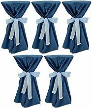 Sensalux, 5 Stehtischüberwürfe (nicht genäht) abwischbar - (Farbe nach Wahl), Überwurf ozeanblau Schleifenband hellblau, Tischdurchmesser 60-70 cm, die preisgünstige Alternative zur Husse