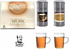 Senseo Café Latte 8 Pads + 2 Paddosen und 2 Glasbecher passend zur Padmaschine